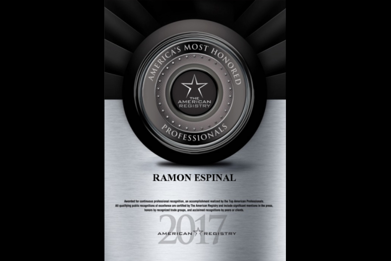 2017 award for Ramon Espinal, America's Most Honored Professionals
