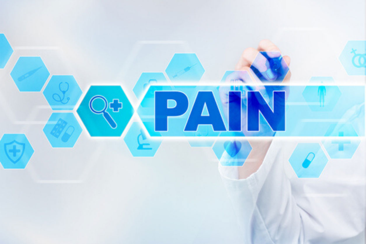 """The word """"PAIN"""" written by doctor."""