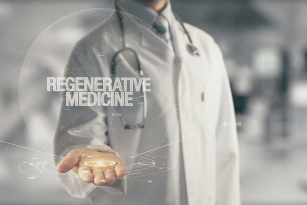 Doctor holding the words, Regenerative Medicine, in hand (abstractly)