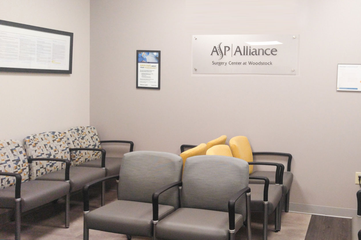 Shot of the lobby at the Surgery Center at Woodstock Alliance Spine and Pain Centers office.