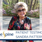 "Photo of smiling patient with text overlay reading ""Patient Testimonial: Sandra Patterson"""
