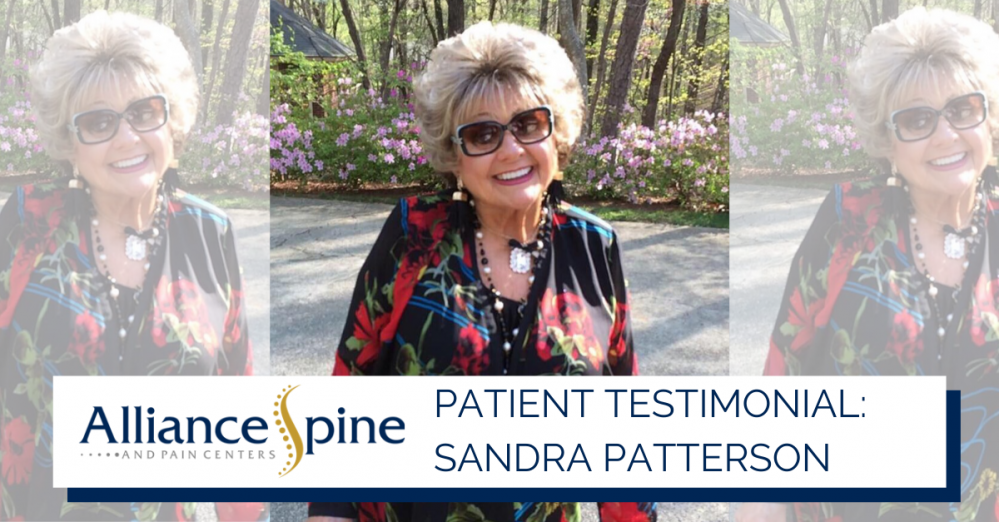 """Photo of smiling patient with text overlay reading """"Patient Testimonial: Sandra Patterson"""""""
