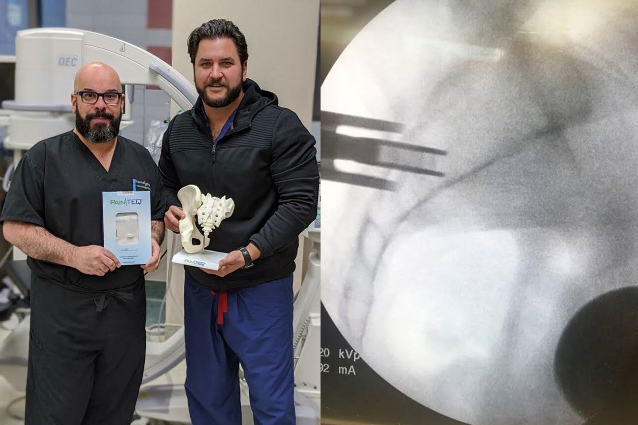 Photo collage of Dr. Rosenfeld's new treatment: one with Dr. Rosenfeld, the other of an xray of the treatment.