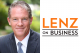 Collage of a photo of Stephen Rosenbaum and the Lenz on Business logo.
