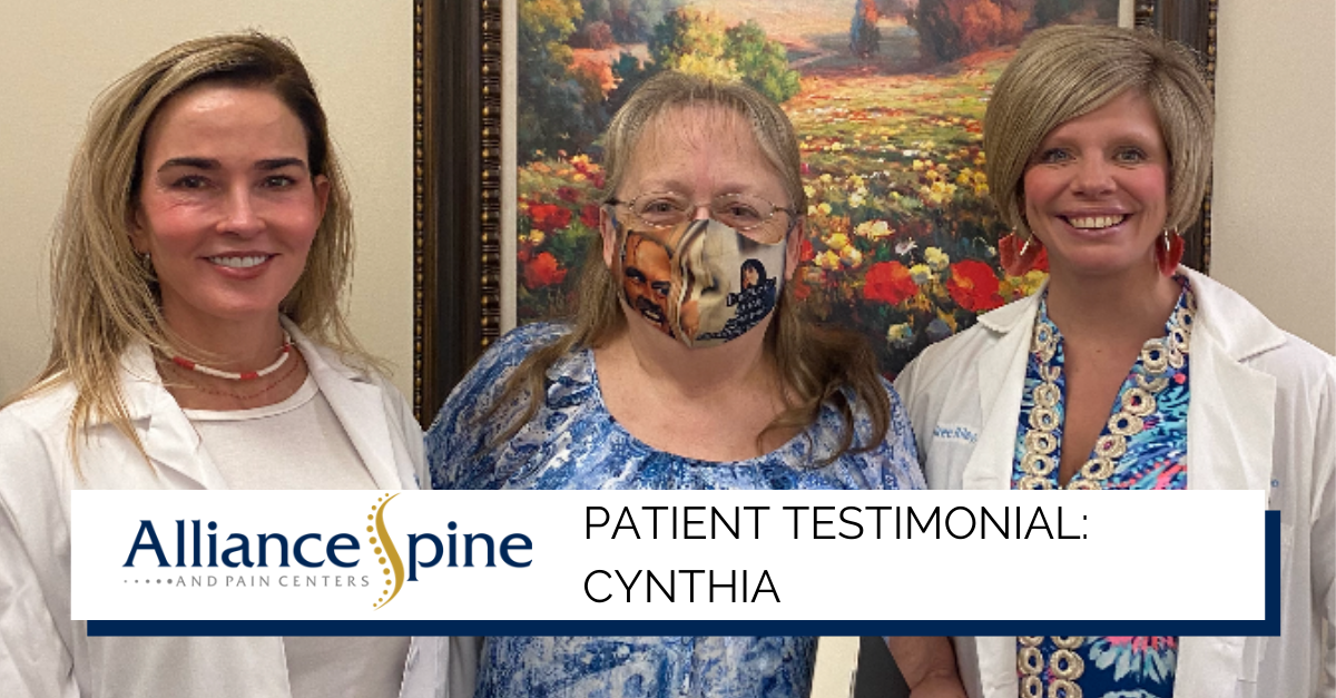 Cynthia, a patient of Alliance Spine and Pain Centers
