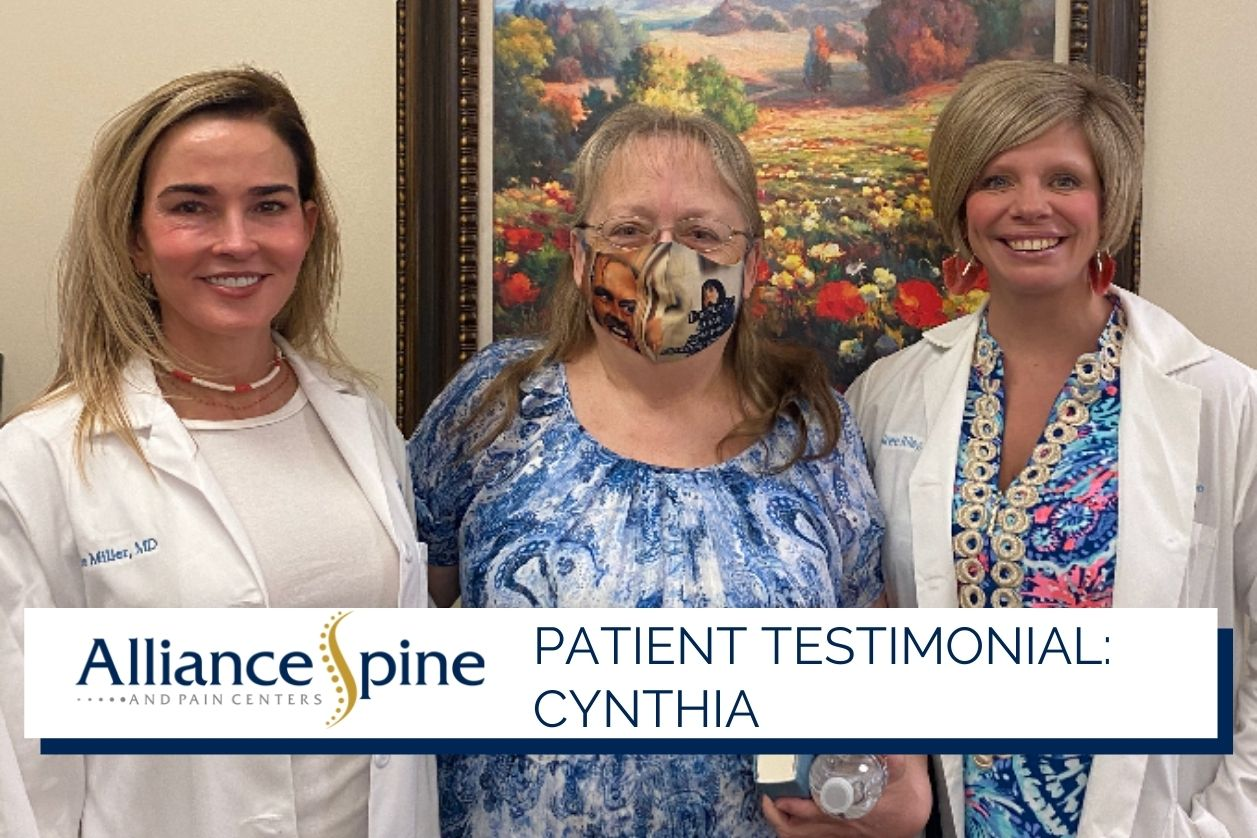 Patient Cynthia with Dr. Miller and Desiree.
