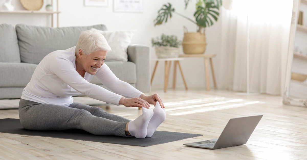 Senior woman with osteoporosis exercising.