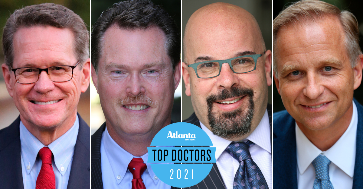 Collage of four Alliance Spine and Pain Centers physicians with the 2021 Top Docs logo in the center