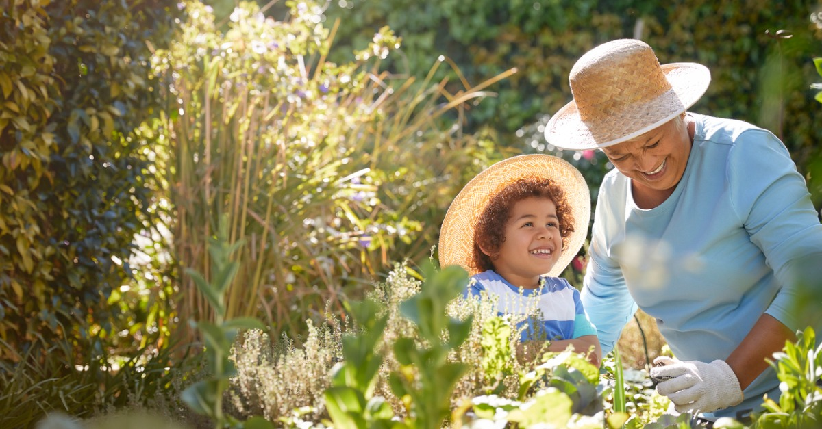 Grandmother and child gardening outside.